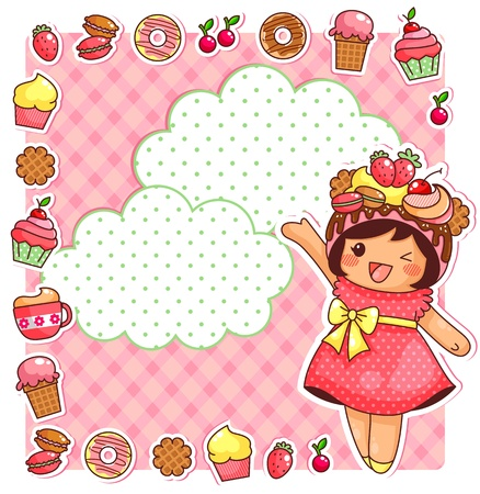 anime: cute cartoon girl and a collection of sweets