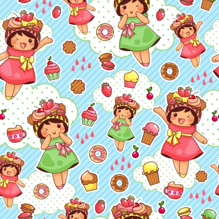 girlish: seamless pattern with cute girls and sweets