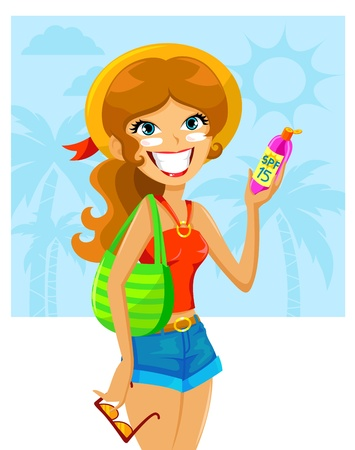 woman face cream: girl with sunscreen on her face Illustration