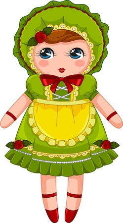 cute japanese bunka doll in vintage dress and bonnet Illustration