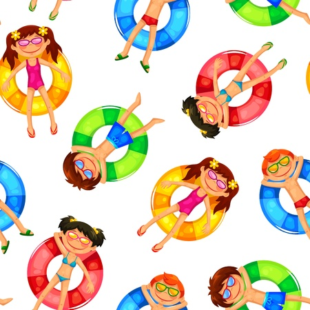 cartoon beach: seamless pattern with kids on inflatable rings