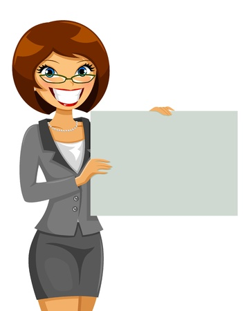 business woman  holding a blank placard Stock Vector - 19088272