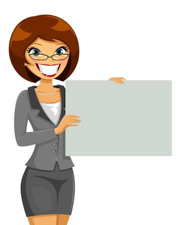 ternos: mulher de neg�cios, segurando um cartaz em branco Ilustra��o