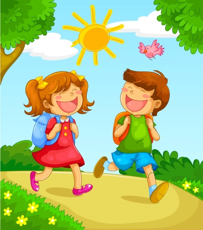 friends laughing: kids going to school Illustration