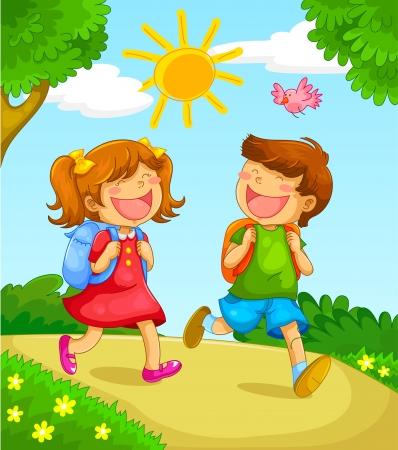 escuela caricatura: los niños van a la escuela