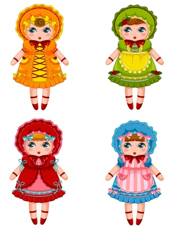 dolls in vintage dresses and bonnets Illustration