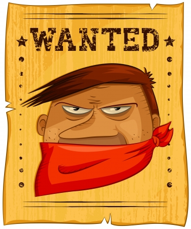 bandanna: wild west poster with a wanted bandit Illustration