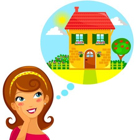 junge Frau träumt von einem schönen Haus
