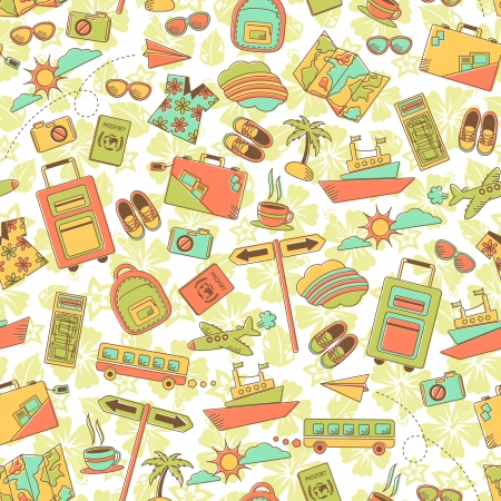 travel destinations: seamless pattern with travel symbols