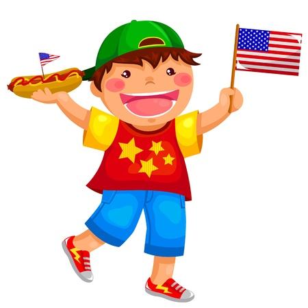 kid eat: Muchacho americano que sostiene un perrito caliente y agitando la bandera de EE.UU.