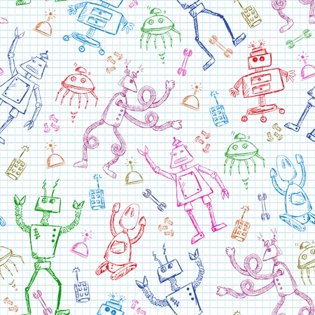 seamless pattern with doodles of robots Vector