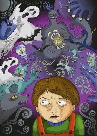 world thinking: little boy scared of imaginary monsters Illustration
