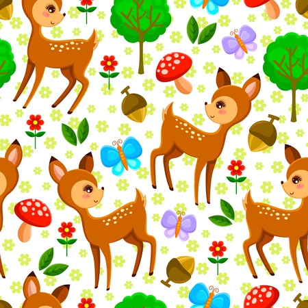 deer cartoon: seamless pattern with baby deer and forest elements