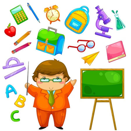 exploring: cartoon teacher and items related to school
