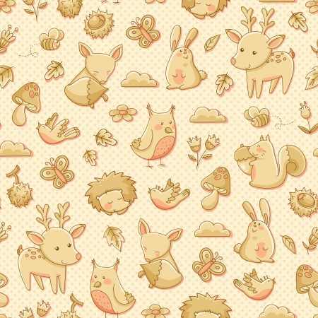 beige: seamless pattern with doodles of forest animals
