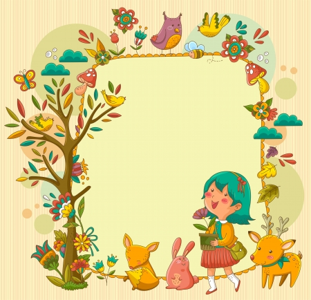 frame with a happy girl walking between animals and flowers