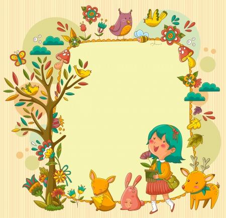 quadro com uma garota andando feliz entre animais e flores Ilustração