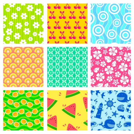 seamless patterns with symbols of summer Vector