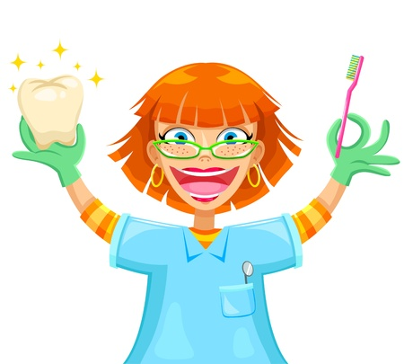 redhead woman: happy smiling dentist holding a toothbrush and a shiny tooth Illustration