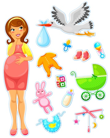 pregnant woman with a collection of items related to babies Vector