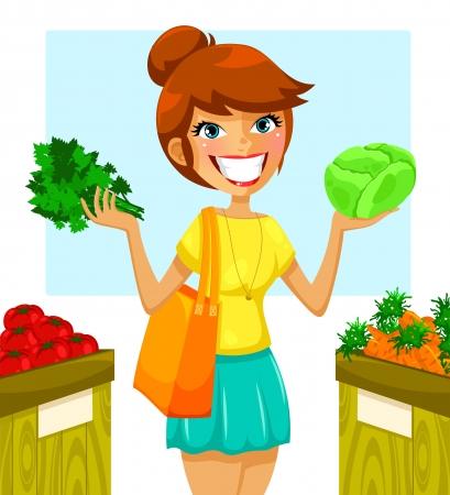 mujer en el supermercado: Mujer que compra las verduras