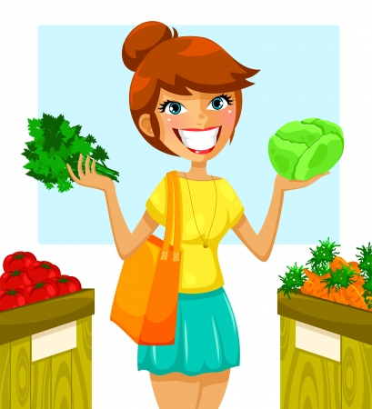 happy healthy woman: woman buying vegetables