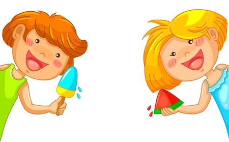 kids eating popsicle and watermelon Vector