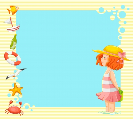 little girl beach: little girl and symbols of summer over background with copy space Illustration