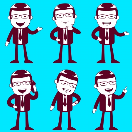 set of businessmen in different position Vector