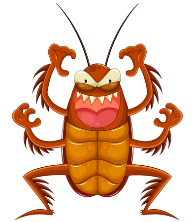 cartoon cockroach looking scary