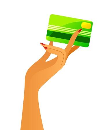 hand holding card: vrouw s hand die een creditcard Stock Illustratie