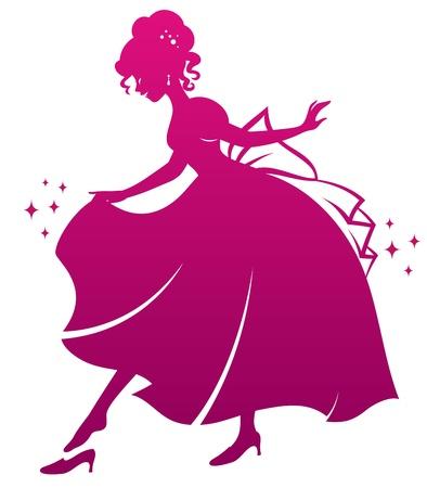 prinzessin: Silhouette von Cinderella trägt ihr Glas Pantoffel
