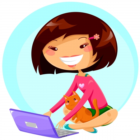 tipos: chica joven que usa su computadora portátil mientras que el gato se sienta en sus rodillas