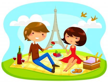 niño y niña con picnic romántico al lado de la torre Eiffel Ilustración de vector