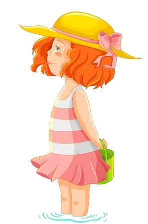 kleines Mädchen in Sommerkleidung im Wasser stehen