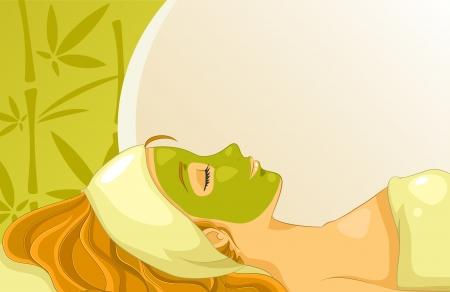 竹とコピー領域の背景の上の顔のマスクを持つ少女