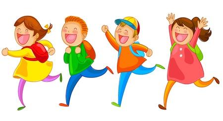 niños de la escuela que corre feliz Ilustración de vector