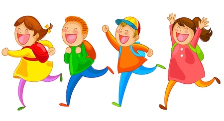 cartoon school girl: school kids running happily Illustration