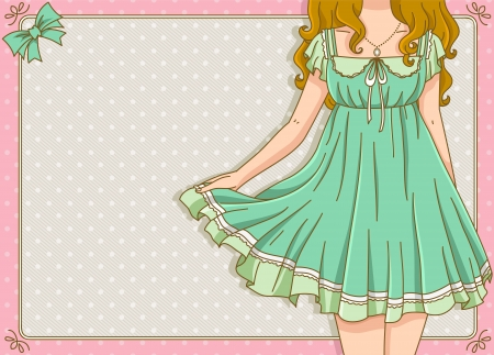 vintage design with girl wearing summer dress Vector