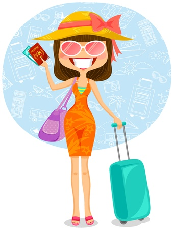 femme valise: femme voyageant à destination tropicale Illustration