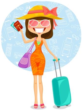 mujer que viaja a su destino tropical Ilustración de vector