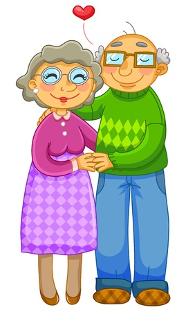 lovingly: old couple hugging lovingly  Illustration