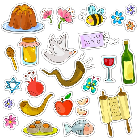 shofar: simboli di Rosh Hashanah Capodanno ebraico Vettoriali