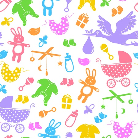 objects equipment: seamless pattern with baby items Illustration