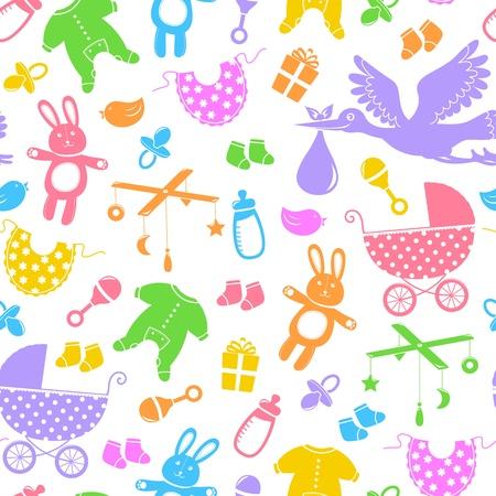 pacifier: sin patrón, con artículos para bebés Vectores