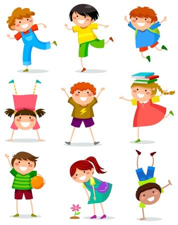 enfants qui jouent: collection d'enfants heureux dans diff�rentes positions