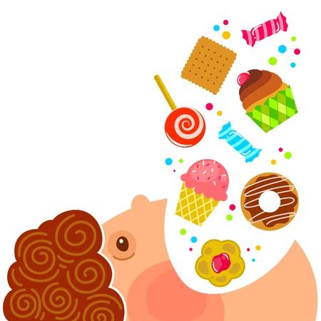 kid eat: cartone animato ragazzo di mangiare un sacco di dolci