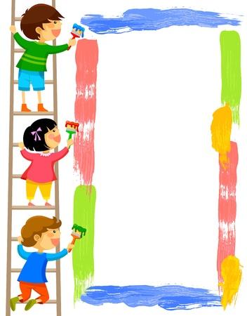 子供は梯子の上に立って、カラフルなフレームを塗装