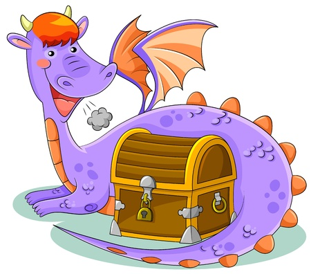 cute cartoon dragon with treasure chest Vector
