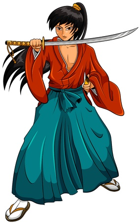 cartoon manga style samurai  Illustration
